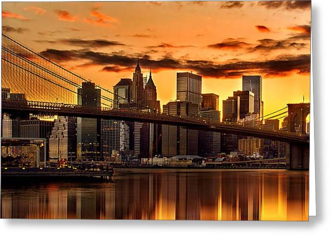 Fiery Sunset Over Manhattan  Greeting Card by Az Jackson