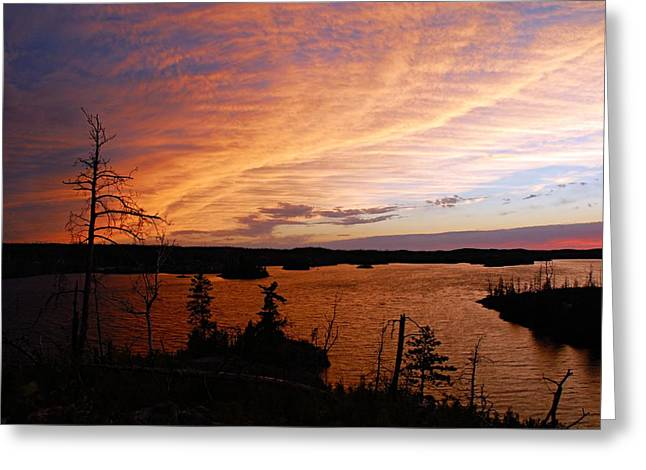 Fiery Sunset Over Seagull Lake Greeting Card by Larry Ricker