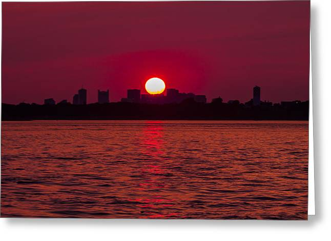 Boston Ma Greeting Cards - Fiery Sunset over the Boston Waterfront Greeting Card by Brian MacLean