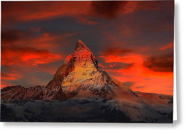 Swiss Photographs Greeting Cards - Fiery Sunset over the Matterhorn Greeting Card by Klausdie