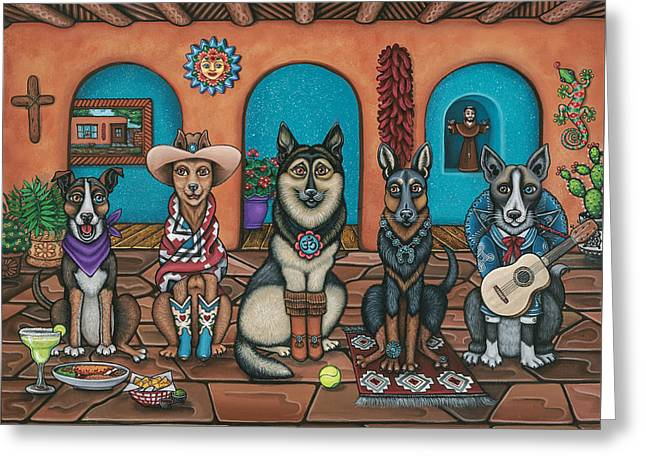 Fiesta Dogs Greeting Card by Victoria De Almeida