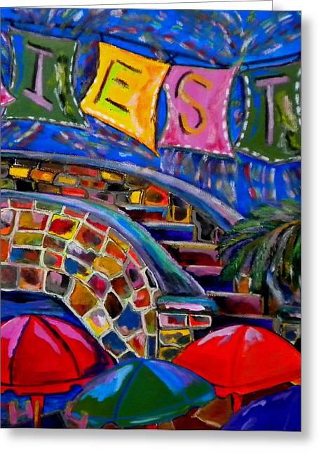 Riverwalk Paintings Greeting Cards - Fiesta Greeting Card by Patti Schermerhorn