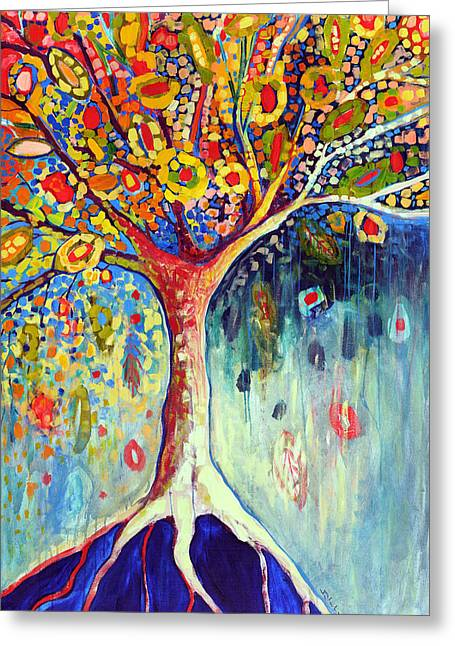Mosaic Paintings Greeting Cards - Fiesta Tree Greeting Card by Jennifer Lommers