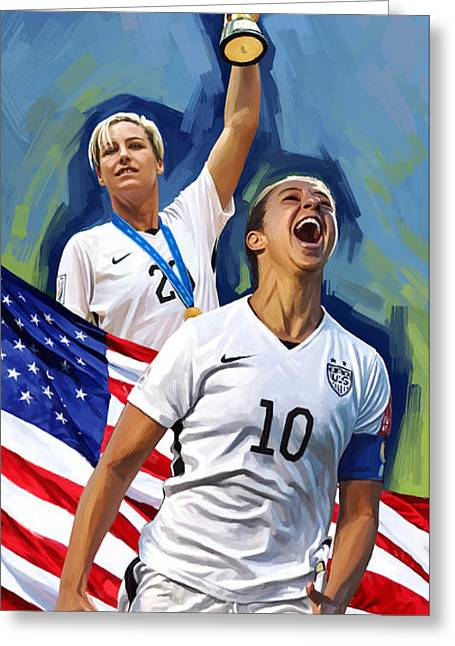 Cup Mixed Media Greeting Cards - FIFA World Cup U.S Women Soccer Carli Lloyd Abby Wambach Artwork Greeting Card by Sheraz A