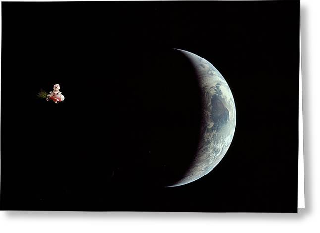 Fifi in space Greeting Card by Michael Ledray