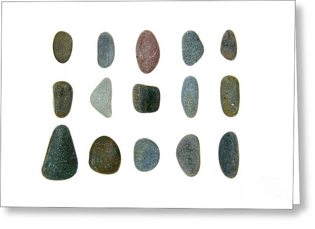 Maine Beach Greeting Cards - Fifteen Beach Stones Greeting Card by Jennifer Booher