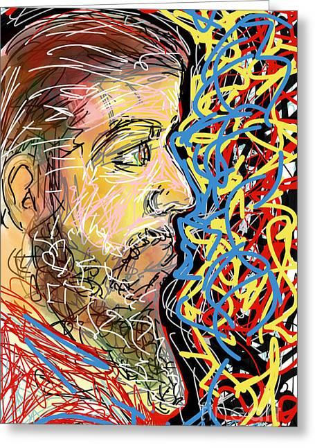 Abstract Digital Drawings Greeting Cards - Fifteen Minute Beard Greeting Card by Robert Yaeger