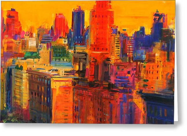 Midtown Paintings Greeting Cards - Fifth and Madison Greeting Card by Peter Graham