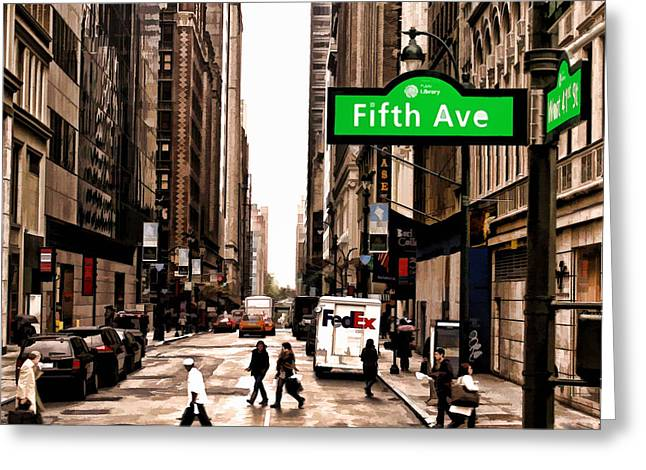 Crosswalk Greeting Cards - Fifth Ave New York City Greeting Card by Jake Steele