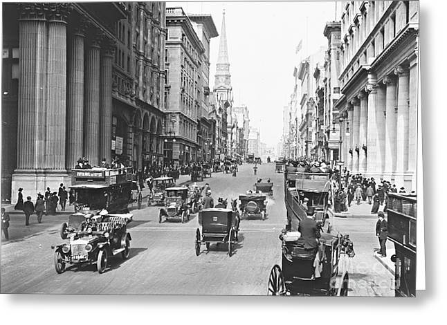 Hansom Cab Greeting Cards - Fifth Avenue and East 34th Street New York City 1907 Greeting Card by Padre Art