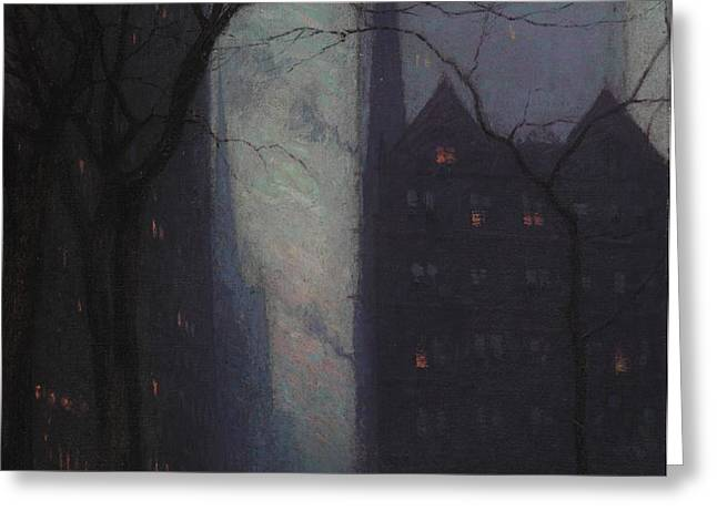 Fifth Avenue at Twilight Greeting Card by Lowell Birge Harrison