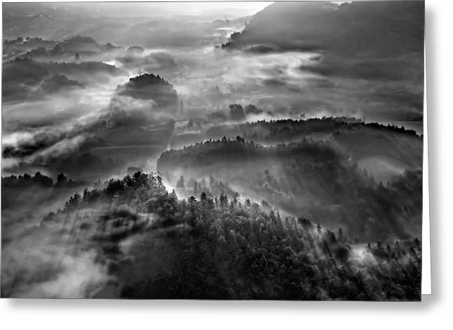 Morning Mist Greeting Cards - Fifth Element Greeting Card by Matjaz Cater