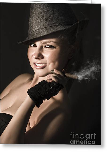 Fifties Broadway Dancer With Cigar Greeting Card by Jorgo Photography - Wall Art Gallery