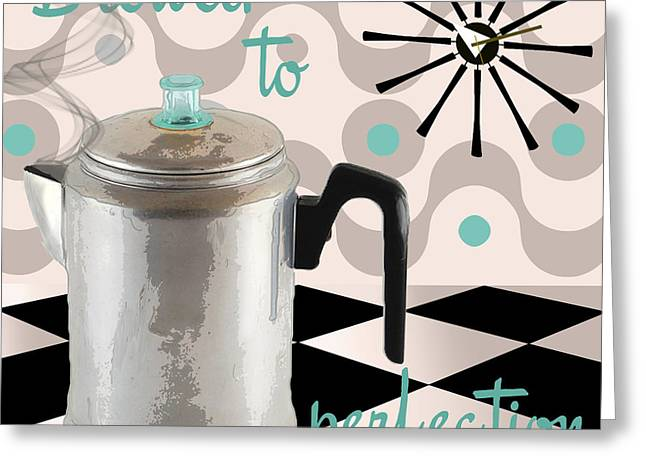 Checkerboard Floor Greeting Cards - Fifties Kitchen Coffee Pot Perk Coffee Greeting Card by Mindy Sommers