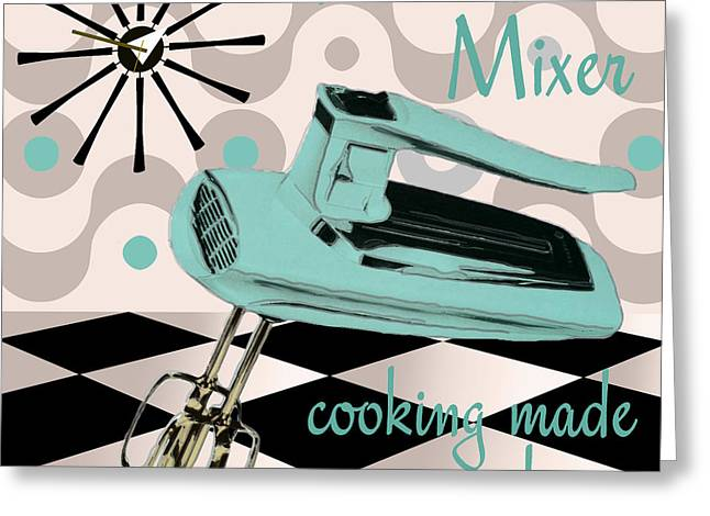 Checkerboard Greeting Cards - Fifties Kitchen Portable Mixer Greeting Card by Mindy Sommers