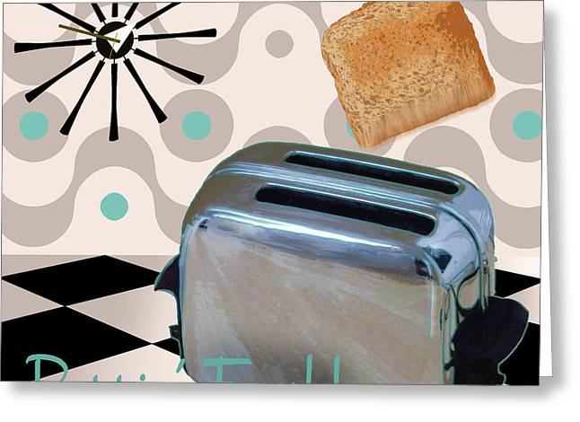 Checkerboard Floor Greeting Cards - Fifties Kitchen Toaster Greeting Card by Mindy Sommers