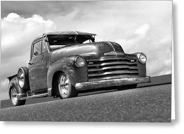 1951 Greeting Cards - Fifties Rust - 1951 Chevy in Black and White Greeting Card by Gill Billington