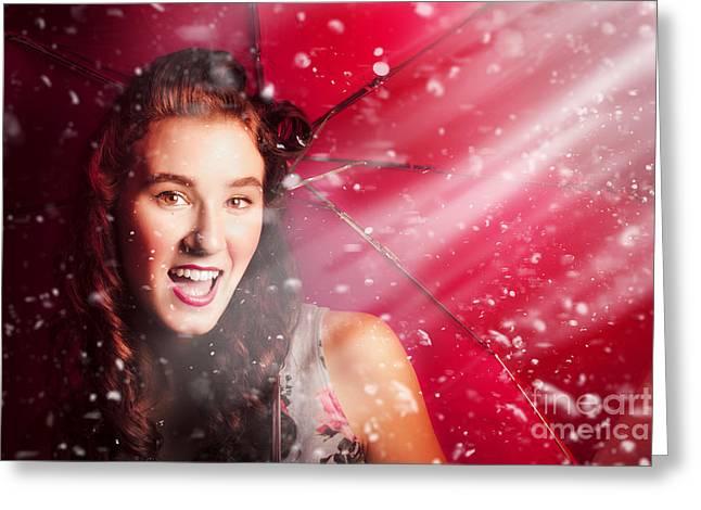Fifties Summer Fun Pin Up Greeting Card by Jorgo Photography - Wall Art Gallery