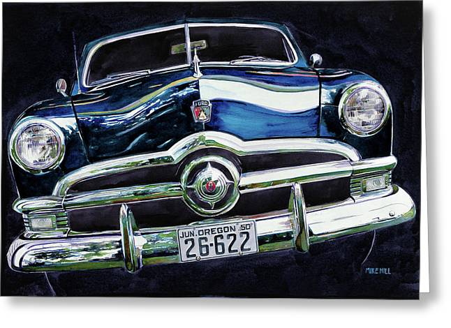 Station Wagon Paintings Greeting Cards - Fifty Ford Greeting Card by Mike Hill