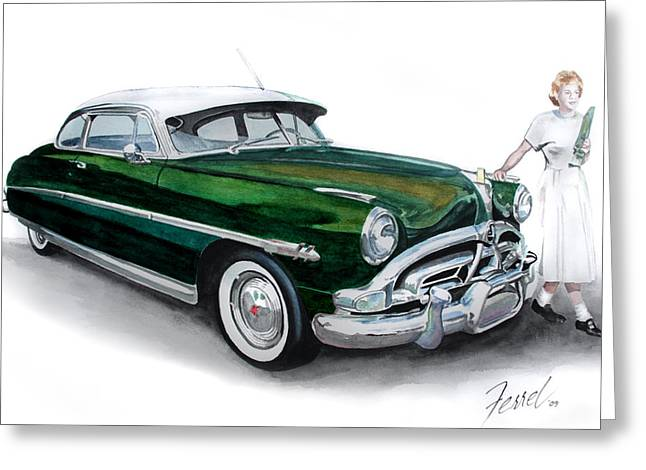 Automobile Greeting Cards - Fifty-One Hudson Greeting Card by Ferrel Cordle