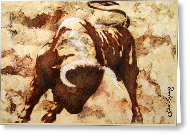 Tree Bark Greeting Cards - Fight Bull Greeting Card by Jose Espinoza