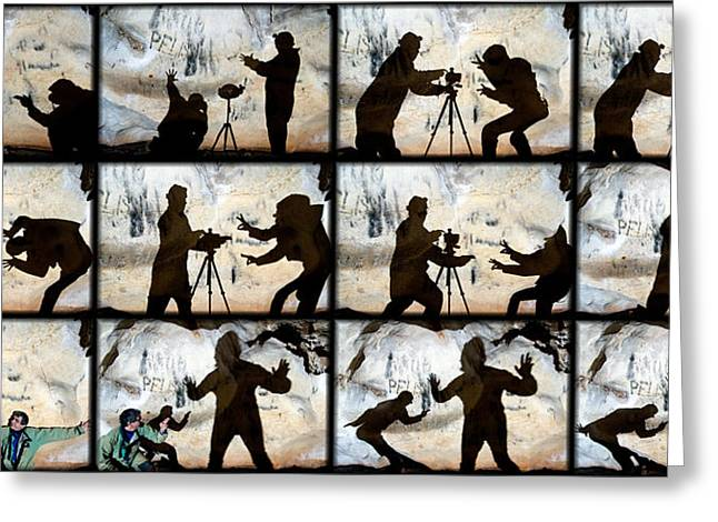 Cave Greeting Cards - Fight For A Tripod Greeting Card by Kikroune (christian R.)