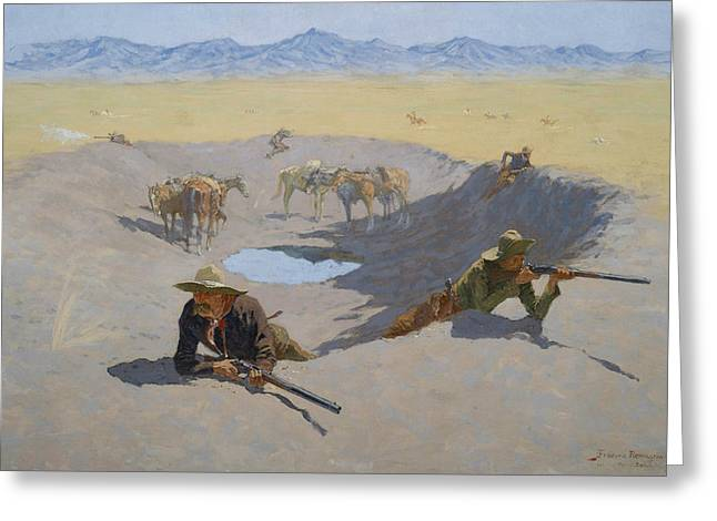 Fight For The Waterhole Greeting Card by Frederic Remington