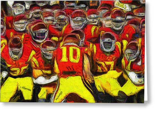 Division Greeting Cards - Fight On - USC Trojan Football - Oil Greeting Card by Tommy Anderson