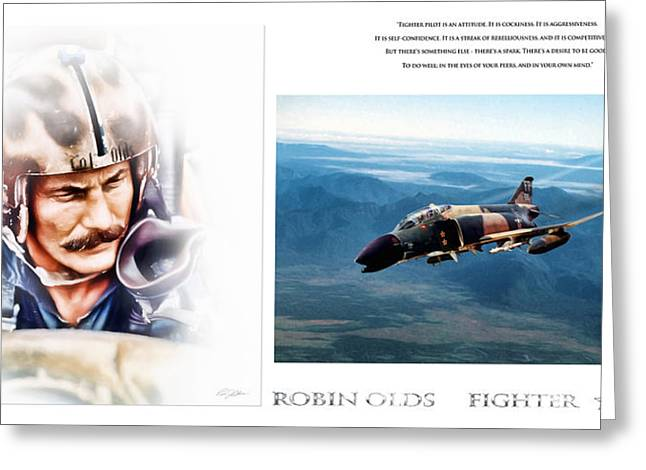 4 Aces Digital Greeting Cards - Robin Olds Fighter Pilot Greeting Card by Peter Chilelli