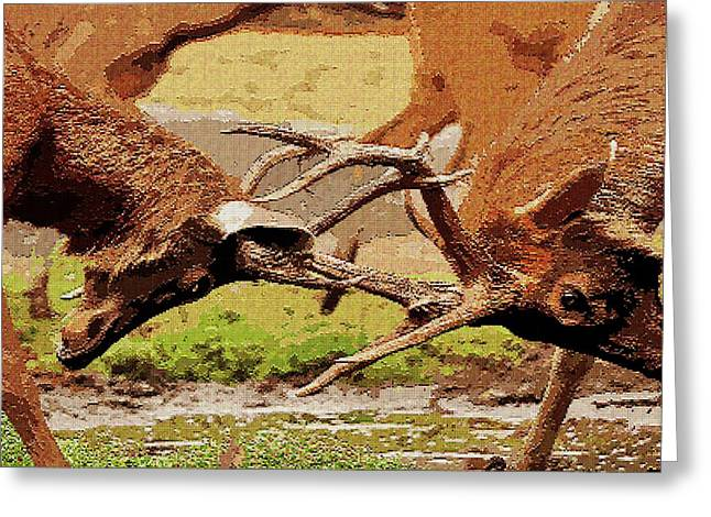 Tetris Block Greeting Cards - Fighting Elks Greeting Card by Jacquin