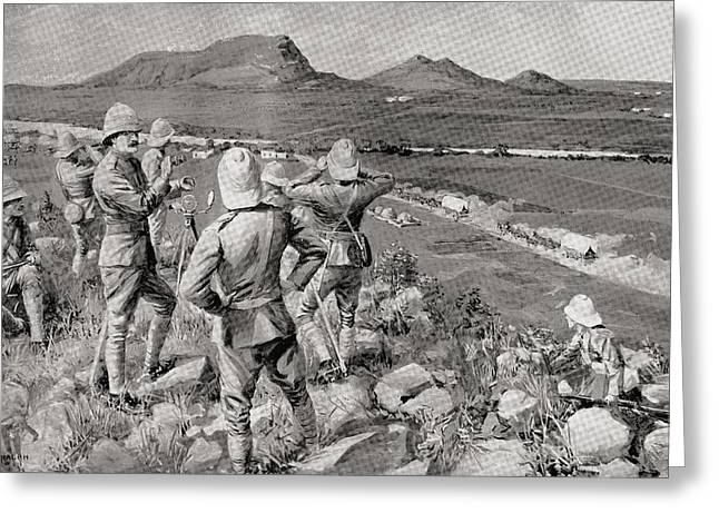 Brigade Drawings Greeting Cards - Fighting Mac And The Highland Brigade Greeting Card by Ken Welsh