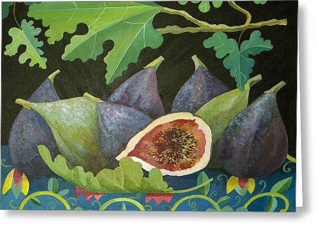Halved Greeting Cards - Figs on Black Greeting Card by Judy Joel