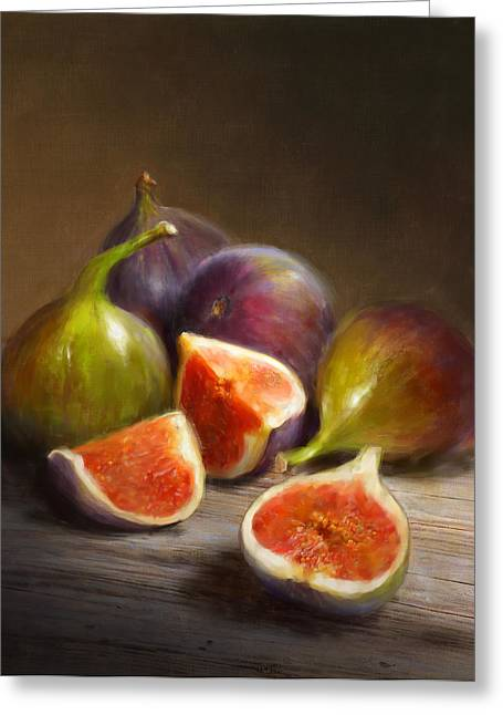 Still Life Glass Greeting Cards - Figs Greeting Card by Robert Papp
