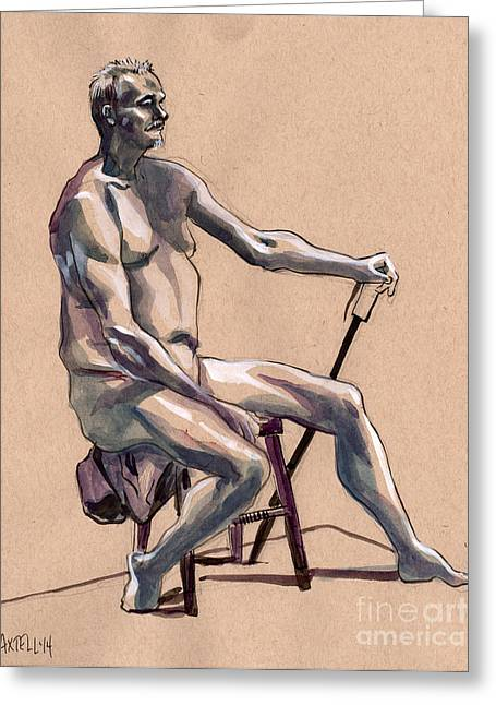 Life Line Drawings Greeting Cards - Figure #369 Greeting Card by Jason Axtell