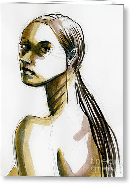 Life Line Drawings Greeting Cards - Figure #400 Greeting Card by Jason Axtell