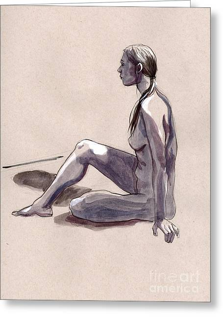 Life Line Drawings Greeting Cards - Figure #402 Greeting Card by Jason Axtell