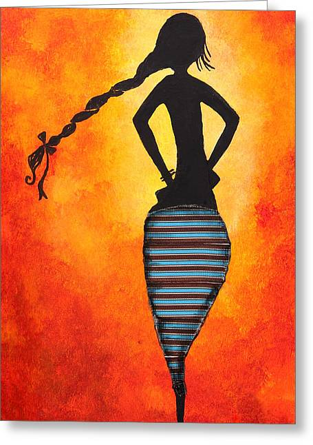 Healthy Body Greeting Cards - Figure of a woman Greeting Card by Nirdesha Munasinghe