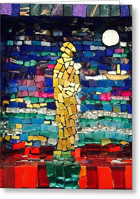 Gold Glass Art Greeting Cards - Figure of gold  Greeting Card by Helen McLean
