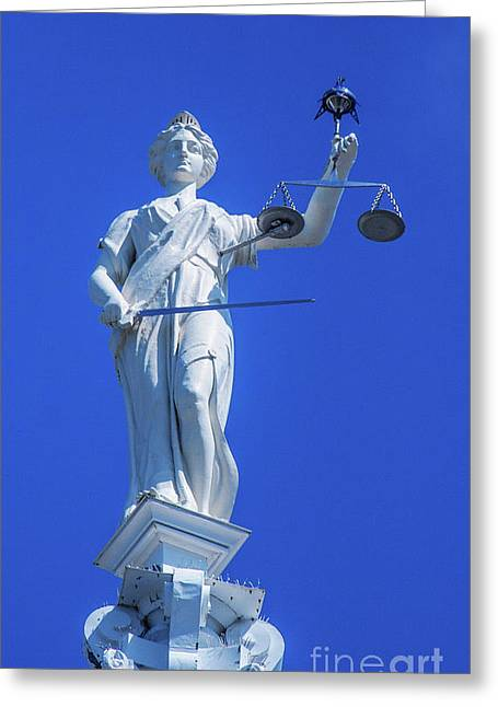 Figure Of Justice Clarion Greeting Card by Randy Steele