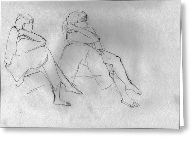 Life Line Pastels Greeting Cards - Figure Study x 2  Greeting Card by Elizabetha Fox
