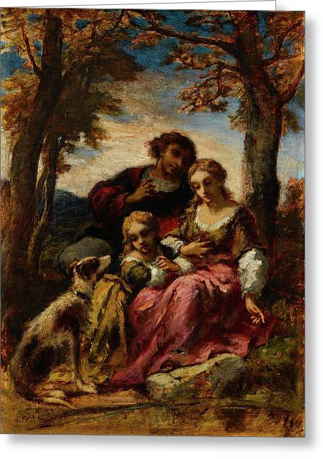 Figures And A Dog In A Landscape Greeting Card by Narcisse Virgile Diaz de la Peria