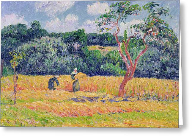 Figures Harvesting A Wheat Field Greeting Card by Henry Moret