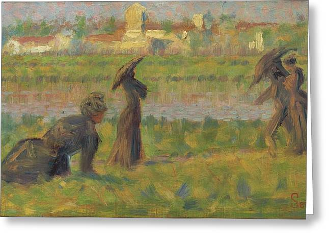Outlook Paintings Greeting Cards - Figures In A Landscape Greeting Card by Georges Seurat