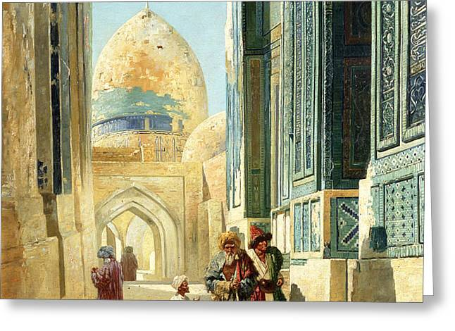 Figures in a Street Before a Mosque Greeting Card by Richard Karlovich Zommer