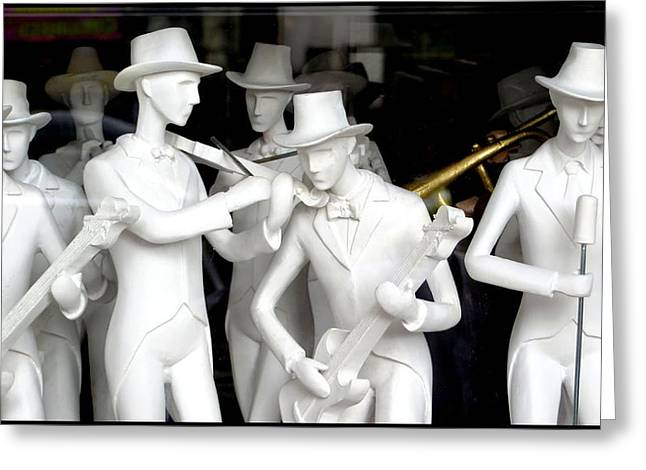 Dressmakers Model Greeting Cards - Figures of musicians Greeting Card by Daniel Gomez