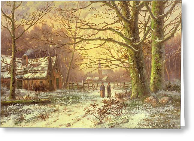 Trees In Snow Greeting Cards - Figures on a path before a village in winter Greeting Card by Johannes Hermann Barend Koekkoek