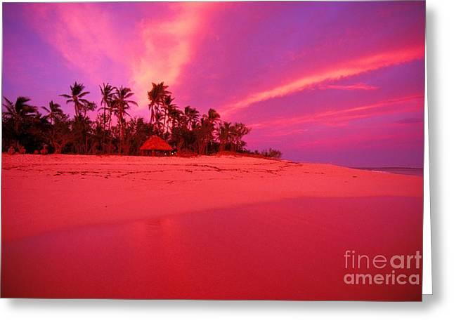 Amazing Sunset Greeting Cards - Fiji, Tavarua Island Greeting Card by Ron Dahlquist - Printscapes