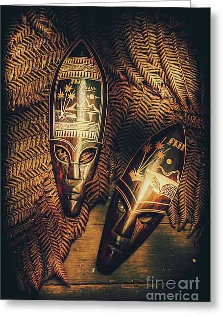 Fijian Tiki Tribal Masks Greeting Card by Jorgo Photography - Wall Art Gallery