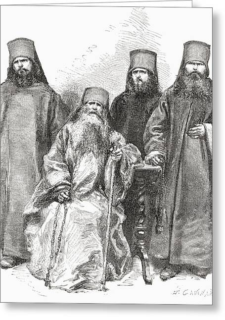 Orthodox Drawings Greeting Cards - Filaret Drozdov And His Three Sons Greeting Card by Ken Welsh