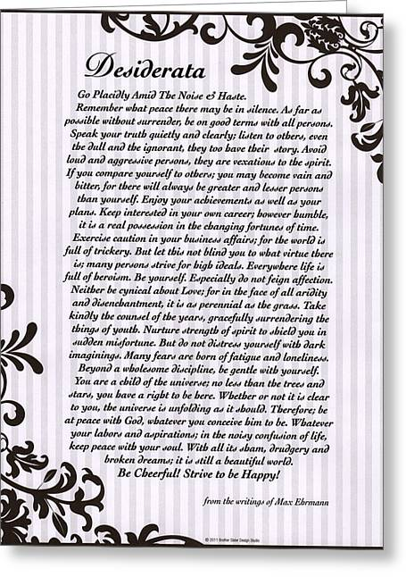 Motivational Poster Greeting Cards - Filigreed Desiderata Poem by Max Ehrmann Greeting Card by Desiderata Gallery